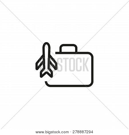 Airplane Travel Line Icon. Craft, Case, Luggage. Tourism Concept. Vector Illustration Can Be Used Fo