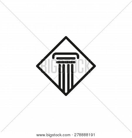 Law Firm Line Icon. Column, Frame, Symbol. Legal Services Concept. Vector Illustration Can Be Used F