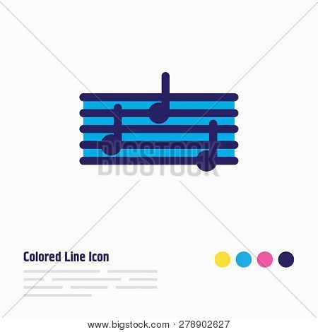 Vector Illustration Of Quaver Icon Colored Line. Beautiful Hobby Element Also Can Be Used As Music I