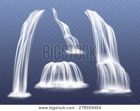 Waterfall Or Water Cascade Illustration. Isolated Realistic Set Of Flowing Streams Falling Down From