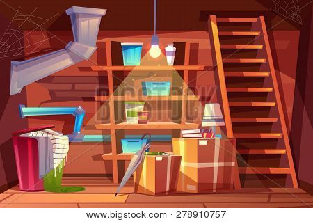 Cellar Interior, Storage Of Clothing Inside The Basement In Cartoon Style. Storeroom With Shelves, F