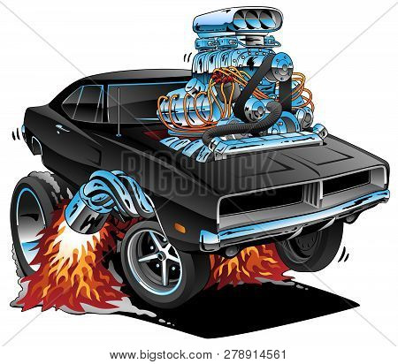 Classic Sixties Style American Muscle Car, Huge Chrome Motor, Popping A Wheelie, Cartoon Vector Illu