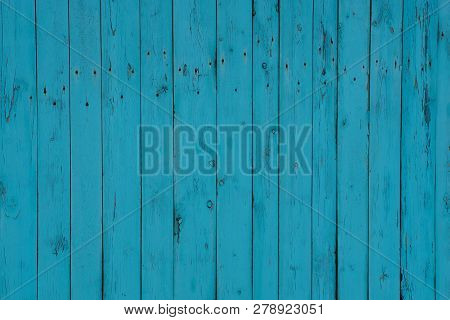 Blue Wooden Background Of A Row Of Planks In The Wall Of The Fence
