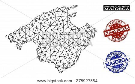 Black Mesh Vector Map Of Majorca Isolated On A White Background And Scratched Watermarks For Network