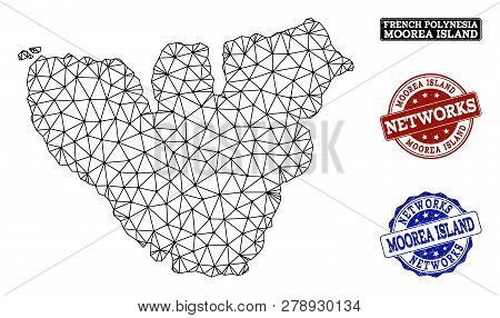Black Mesh Vector Map Of Moorea Island Isolated On A White Background And Grunge Stamp Seals For Net