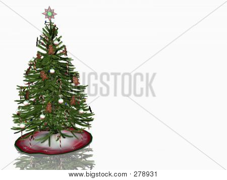Decorated Christmas Tree Over White.