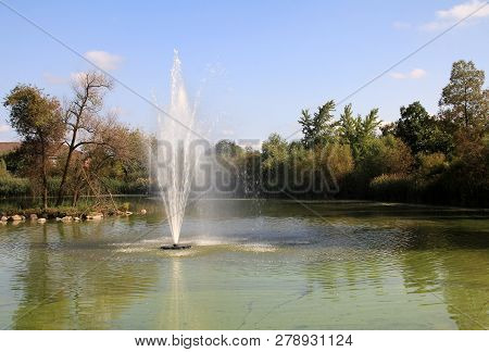 The Summer Landscape In The Park With Fountain