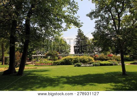 The Summer Landscape In The Park  With Flower Bed