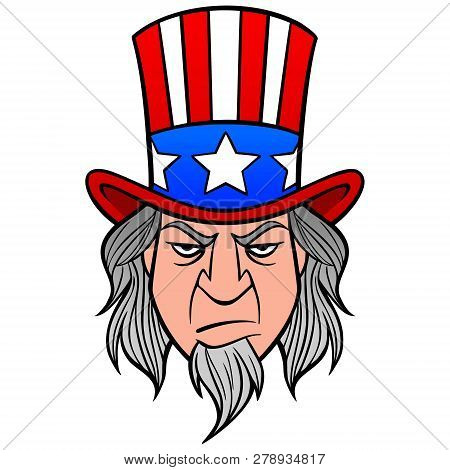Uncle Sam - A Vector Cartoon Illustration Of A Uncle Sam Mascot.