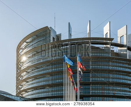 Strasbourg, France - June 6, 2018: Horizontal Image All European Union Members States Flags In Front