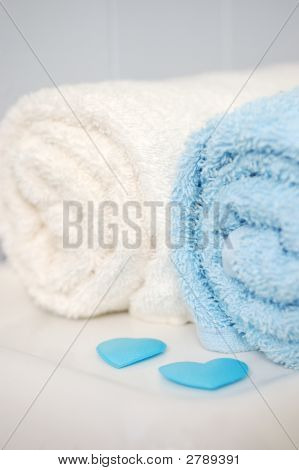 Towels With Blue Valentine Hearts