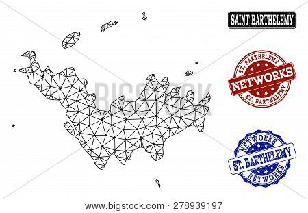 Black Mesh Vector Map Of Saint Barthelemy Isolated On A White Background And Grunge Watermarks For N