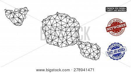 Black Mesh Vector Map Of Tahiti And Moorea Islands Isolated On A White Background And Grunge Waterma