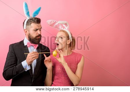 Happy Easter! Family Celebrate Easter. Easter Rabbits. Bunny Couple. Happy Holidays. Happy Couple Pa