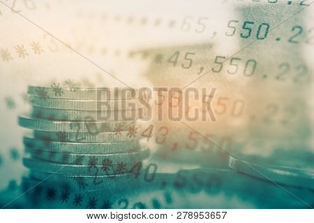 Double Exposure Of Coins And Bookbank , For Business And Finance Background