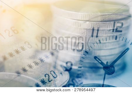 Double Exposure Of Coins And Bookbank With Clock, For Business And Finance Background