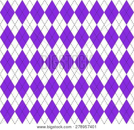 Argyle Plaid. Proton Purple Argyle. Scottish Pattern In White And Purple Rhombuses. Scottish Cage. T