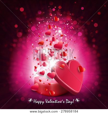 Composition Of Dark Pink Color With A Casket, A Set Of Hearts And Rays Of Light,