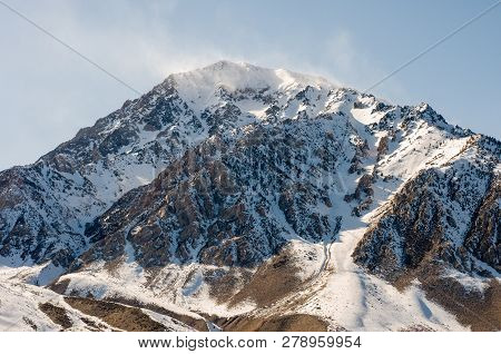 Snow-covered Mountain  Along Sierras In Inyo County, California