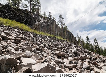 Hexagon Basaltic Columns Of Devils Postpile National Monument In Inyo National Forest, Ansel Adams W