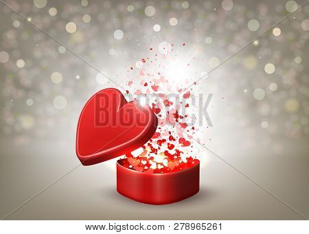 Beige Composition With A Red Casket, Rays Of Light And Many Hearts.