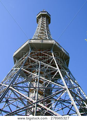 Petřín Lookout Tower Is Over 65,5 Meters High One Of The Most Famous Dominant Of Prague. The Viewfin