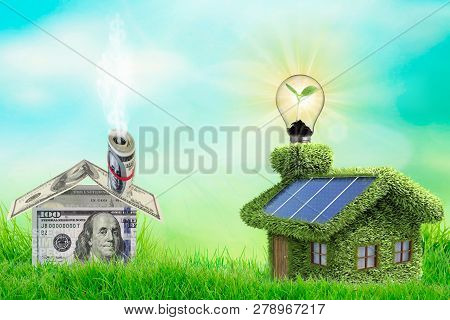 Photovoltaic Solar Panels On Newly Built Modern House. Eclology Concept