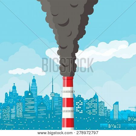 Smoking Factory Pipe Against Cityscape Clear Sky. Plant Pipe With Dark Smoke. Carbon Dioxide Emissio