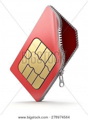 Sim Card With The Zipper On White Background - 3d Illustration