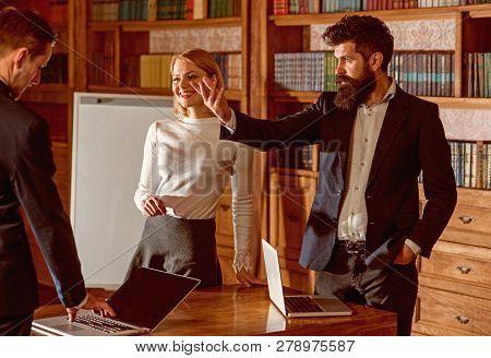 Online Concept. Business People Use Laptops For Online Information. Digital Library Online. Online T