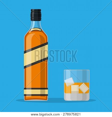 Bottle Of Bourbon Whiskey And Glass With Ice. Whiskey Alcohol Drink. Vector Illustration In Flat Sty