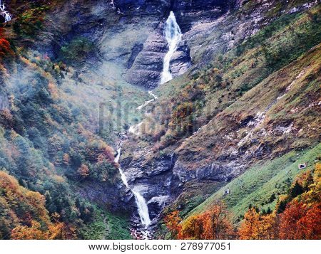 Waterfalls And Cascades On The Eastern Tributary Of The Klontalersee Lake - Canton Of Glarus, Switze