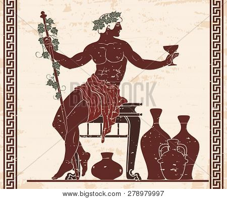 The Ancient Greek God Dionysus With A Glass And A Rod Sits Near The Jugs Of Wine.