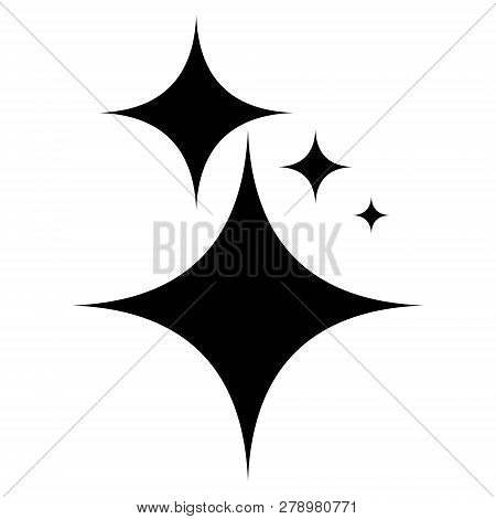 Icon Symbol Shine, Vector Shining Stars Shine, Sign Purity And Gloss