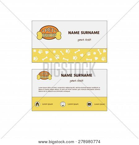 Ornamental Business Card With Logo Pet Shop. Pet Shop Design Hand Card And Card Brochure Template In