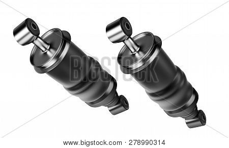 3d Rendering. Trucks Cabin Shock Absorber, New Auto Parts, Spare Parts Cabinedemper. Spare Parts For