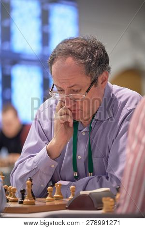 ST. PETERSBURG, RUSSIA - DECEMBER 29, 2018: Grandmaster Boris Gelfand, Israel competes in King Salman World Blitz Chess Championship 2018. Eventually he took 18th place