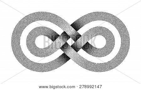 Stippled Limitless sign made of two crossed lines. Infinity strip symbol. Vector textured illustration isolated on white background. poster