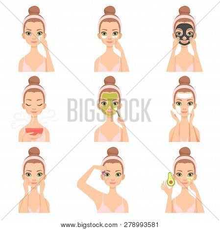 Attractive Young Woman Caring For Her Face And Skin With Cosmetics Set, Beauty Routine Steps, Facial