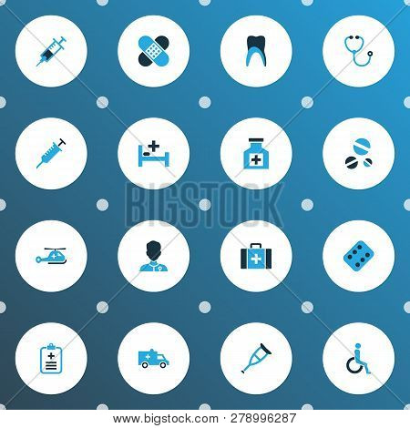Antibiotic Icons Colored Set With Patch, Healer, Crutch And Other Help Elements. Isolated Vector Ill