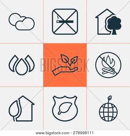 Eco-friendly Icons Set With Eco House, Eco Home, Water Drops And Other Save World Elements. Isolated
