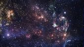 Planets and galaxy, cosmos,  physical cosmology, science fiction wallpaper. Beauty of deep space. Billions of galaxies in the universe Cosmic art background poster