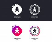 Logotype concept. Baby infant sign icon. Toddler boy in pajamas or crawlers body symbol. Child WC toilet. Logo design. Colorful buttons with icons. Vector poster