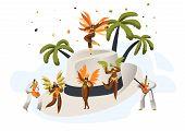 Brazilian Samba Carnival Latino Character Straw Hat. Bikini Feather Woman Dance Tropical Cuban Tango. Latin Man in Retro Costume have Fun at Happy Cabaret Festival Flat Cartoon Vector Illustration poster