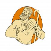 Drawing sketch style illustration of Moses, a prophet in the Abrahamic religions. leader of Israelites and lawgiver, with Ten Commandments set inside oval on isolated white background in color. poster