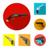 Isolated object of revolver and pistol logo. Collection of revolver and trigger vector icon for stock. poster