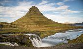 Kirkjufell mountain and waterfall, Grundarfjordur, Snaefellsnes Peninsula, Vesturland, Iceland poster