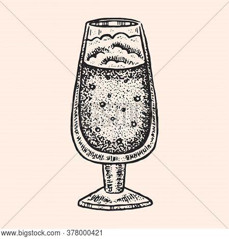 Glass Of Beer, Ale, Lager. Oktoberfest Monochrome Illustration. Alcohol. German Tradition. Bavaria.