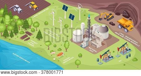 Renewable Energy Resources And Nonrenewable, Natural Green Power Sources, Vector Isometric. Renewabl