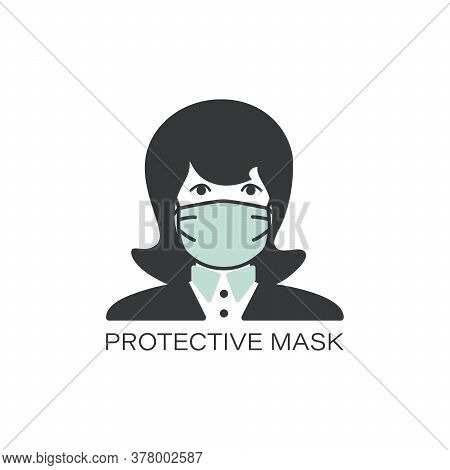 Face Medical Mask. Flu Mask Line Icon. Woman In Mask. Protective Mask. Protection From Coronavirus